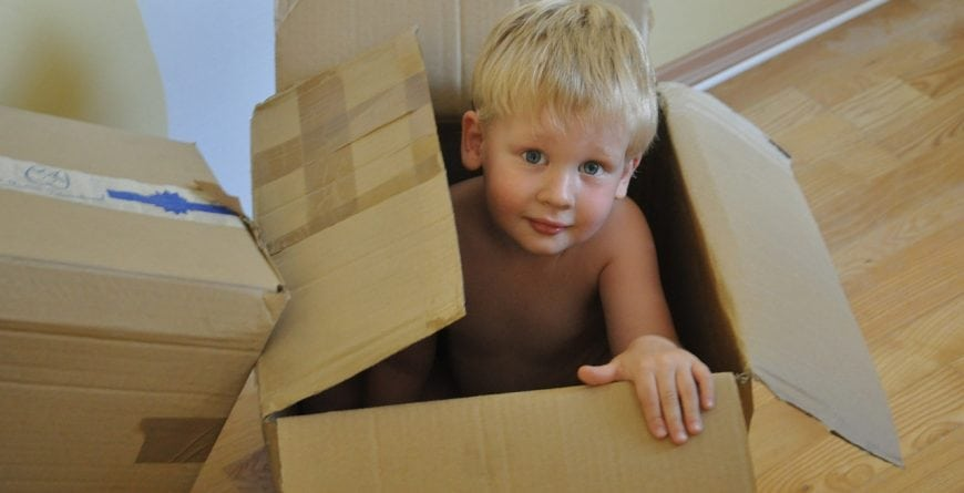 Small child in a box